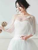 cheap Wedding Wraps-Sleeveless Tulle Wedding Party Evening Women's Wrap With Flower Shawls