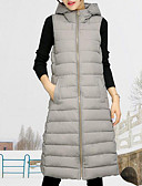 cheap Women's Down & Parkas-Women's Street chic Long White Duck Down Down - Solid Colored Hooded