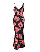 baratos Vestidos Longos-Mulheres Bainha Vestido - Frente Única, Floral Com Alças Longo / Verão
