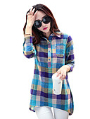 cheap Women's Shirts-Women's Loose T-shirt - Plaid Shirt Collar Blue L / Spring / Fall