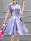 זול שמלות נשים-עד הברך דפוס שמלה גזרת A בגדי ריקוד נשים