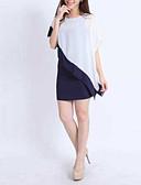 cheap Women's Dresses-Women's Asymmetrical Daily Mini Sheath Dress - Color Block Layered Summer White Screen Color M L