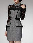 abordables Vestidos de Talla Grande-Mujer Tallas Grandes Trabajo Vaina Encaje Vestido Un Color Mini Cuello Camisero