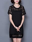 baratos Vestidos Femininos-Mulheres Moda de Rua Tamanhos Grandes Calças - Sólido Preto, Com Corte Preto