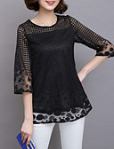 cheap Women's Tops-Women's Boho Plus Size Blouse - Solid Colored Mesh / Summer / Lace