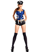 cheap Exotic Uniforms-Police Career Costumes Cosplay Costume Party Costume Women's Police Uniforms Christmas Halloween Carnival Festival / Holiday Terylene Outfits Blue Solid Colored