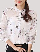 tanie Damskie bluzy z kapturem-Puszysta Koszula Damskie Kwiat Kołnierz stawiany Kwiaty
