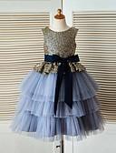 Χαμηλού Κόστους Λουλουδάτα φορέματα για κορίτσια-Βραδινή τουαλέτα Κάτω από το γόνατο Φόρεμα για Κοριτσάκι Λουλουδιών - Τούλι / Με πούλιες Αμάνικο Με Κόσμημα με Ζώνη / Κορδέλα με LAN TING Express