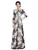 abordables Vestidos de Madrina-Funda / Columna Joya Hasta el Suelo Encaje Vestido de Madrina - Apliques Encaje por LAN TING BRIDE®