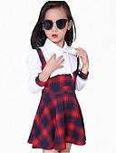 baratos Roupas de Meninas-Menina de Vestido Diário Xadrez Primavera Outono Todas as Estações Algodão Manga Longa Xadrez Preto Vermelho