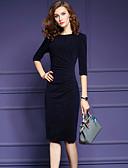 preiswerte Damen Kleider-Damen Übergrössen Arbeit Hülle Kleid Solide Knielang