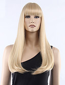 cheap Women's Skirts-Synthetic Wig Women's Straight Blonde With Bangs Synthetic Hair Blonde Wig Medium Length Capless Blonde