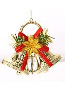 preiswerte Farbiger Chiffonschal-Doppel Jingle Bells Weihnachtsbaum Ornamente Kranz Kranz fröhliches Weihnachten Glocken hängen Dekoration für zu Hause Festival