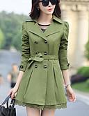 preiswerte Damenmäntel und Trenchcoats-Damen-Solide Niedlich Arbeit Übergrössen Trench Coat Spitze