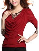 baratos Blusas Femininas-Mulheres Tamanhos Grandes Camiseta - Para Noite Moda de Rua Leopardo / Retalhos / Primavera / Outono