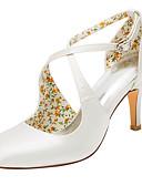 preiswerte Hochzeitsschuhe für Damen-Damen Schuhe Stretch - Satin Frühling / Sommer High Heels Stöckelabsatz Runde Zehe Schnalle Elfenbein / Hochzeit / Party & Festivität