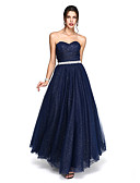 cheap Evening Dresses-Ball Gown Sweetheart Neckline Ankle Length Tulle Sparkle & Shine Prom / Formal Evening Dress with Beading / Sash / Ribbon / Side Draping by TS Couture®