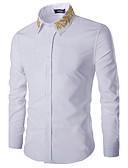 abordables Camisas de Hombre-Hombre Algodón Camisa, Cuello Inglés Un Color Bordado