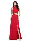 cheap Prom Dresses-Sheath / Column / Two Piece Jewel Neck Floor Length Chiffon Two Piece Cocktail Party / Prom / Formal Evening Dress with Split Front by TS Couture®