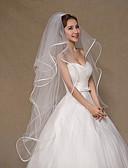 cheap Wedding Veils-Four-tier Ribbon Edge Wedding Veil Fingertip Veils with Tulle / Classic