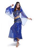 hesapli Dans Aksesuarları-Göbek Dansı Kıyafetler Kadın's Eğitim / Performans Polyester / Splandeks / Şifon Payet Kısa Kol Top / Etek / Başlık