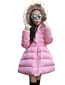 cheap Girls' Jackets & Coats-Girls' Casual / Daily Solid Colored Long Sleeve Long Spandex Down & Cotton Padded Black