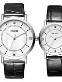 זול שעוני ילדים-KEZZI לזוג שעון יד קווארץ מכירה חמה מגניב / עור להקה אנלוגי יום יומי אופנתי שחור / לבן / כסף - לבן שחור קפה