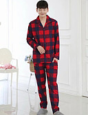 cheap Men's Underwear & Socks-Men's Shirt Collar Suits Pajamas Plaid