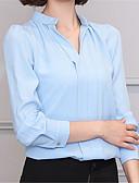 abordables Pantalones para Mujer-Mujer Trabajo Camisa, Escote en Pico Un Color Manga Farol / Otoño