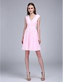 preiswerte Cocktailkleider-A-Linie V-Ausschnitt Knie-Länge Tüll Cocktailparty / Abiball Kleid mit Applikationen / Schärpe / Band durch TS Couture®