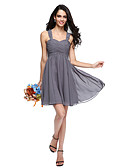 cheap Cocktail Dresses-A-Line Straps Short / Mini Chiffon Bridesmaid Dress with Criss Cross / Ruched by LAN TING BRIDE®