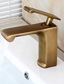 halpa Pukukello-Kylpyhuone Sink hana - Esihuuhtelusuihku / Vesiputous / Laajallle ulottuva Antiikkikupari Integroitu Yksi kahva yksi reikä