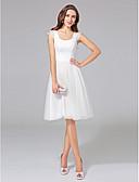 preiswerte Hochzeitskleider-A-Linie U-Ausschnitt Knie-Länge Baumwolle / Tüll Maßgeschneiderte Brautkleider mit Spitze durch LAN TING BRIDE®