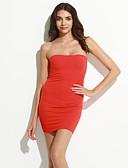 hesapli Kadın Elbiseleri-Kadın's Bandaj Elbise - Solid, Arkasız