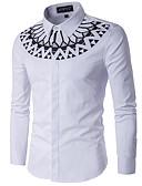 billige Herreskjorter-Bomull Tynn Opprett krage Skjorte Herre - Geometrisk / Langermet