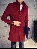 cheap Men's Jackets & Coats-Men's Work Trench Coat - Solid Colored Stand