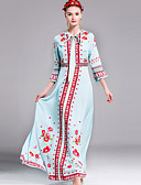 voordelige Damesbovenkleding-Dames Kaftan Jurk - Bloemen Maxi