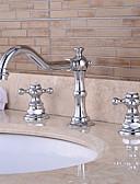 billige Nøkkelringgaver-Baderom Sink Tappekran - Forskyll / Foss / Utbredt Krom Centersat To Håndtak tre hull