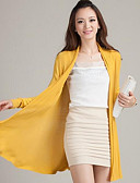 cheap Women's Sweaters-Women's Long Sleeves Long Cardigan - Solid Halter
