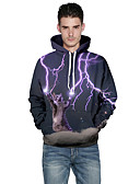 cheap Men's Hoodies & Sweatshirts-Men's Plus Size Sports Active Long Sleeve Hoodie - 3D Print Round Neck Purple XL / Fall / Winter
