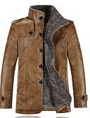 お買い得  メンズジャケット&コート-男性用 レザージャケット - ジャケット スタンド ソリッド, 合皮 / 長袖