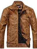 cheap Men's Blazers & Suits-Men's Leather Jacket - Solid Colored, Classic / Long Sleeve