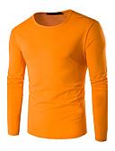 preiswerte Herren Polo Shirts-Herrn Solide Übergrössen Baumwolle T-shirt, Rundhalsausschnitt / Langarm