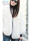 baratos Roupa de Exterior de Mulher-Mulheres Casaco de Pêlo Simples - Sólido
