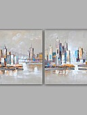 billige Hatter til damer-Hang malte oljemaleri Håndmalte - Landskap Klassisk / Moderne Inkluder indre ramme / Stretched Canvas