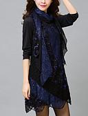 baratos Vestidos para Trabalhar-Mulheres Tamanhos Grandes Para Noite Moda de Rua Rendas Vestido - Renda, Sólido Cintura Alta Assimétrico / Outono
