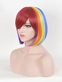 halpa Naisten yläosat-Synteettiset peruukit Suora Bob-leikkaus / Otsatukalla Synteettiset hiukset Punainen Peruukki Naisten Suojuksettomat / Kyllä