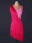 cheap Latin Dance Wear-Latin Dance Dresses Women's Performance Spandex / Organza Beading / Tassel Sleeveless Natural Dress