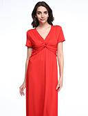 baratos Vestidos de Mulher-Mulheres Tamanhos Grandes Boho Algodão balanço Vestido - Renda, Sólido Decote em V Profundo Longo Vermelho