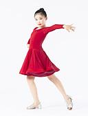 billige Dansetøj til børn-Latin Dans Kjoler Ydeevne Polyester / Spandex Draperet Langærmet Naturlig Kjole